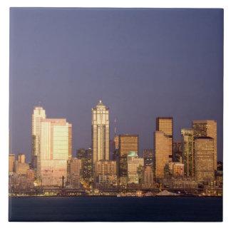 WA, Seattle, Seattle skyline and Elliott Bay, Tile