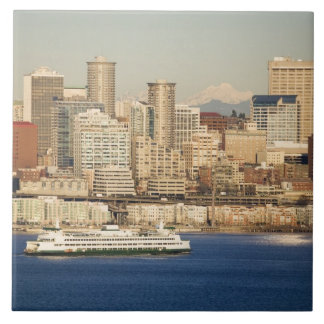 WA, Seattle, Seattle skyline and Elliott Bay Tile