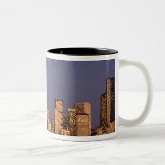 WA, Seattle, Seattle skyline and Elliott Bay, Two-Tone Coffee Mug