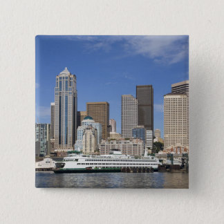 WA, Seattle, Seattle skyline with ferry boat 15 Cm Square Badge