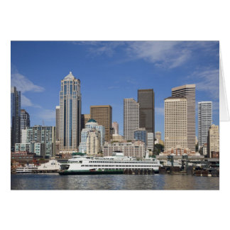 WA, Seattle, Seattle skyline with ferry boat Greeting Cards