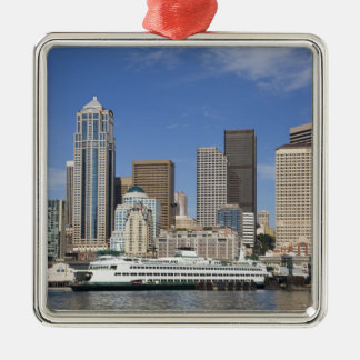 WA, Seattle, Seattle skyline with ferry boat Christmas Ornament