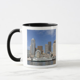 WA, Seattle, Seattle skyline with ferry boat Mug