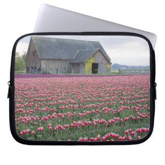 WA, Skagit Valley, Tulip Field and Barn Laptop Sleeve