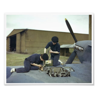 WAAF Armourers rearm a Hawker Hurricane during WWI Photo Print
