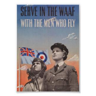 WAAF in Uniform with Pilot Beside Her Art Photo