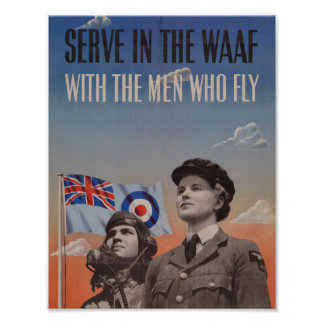 WAAF in Uniform with Pilot Beside Her Poster