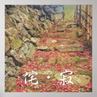 Wabi-sabi Rubble Masonry Bamboo Fence Fall Leaves Poster