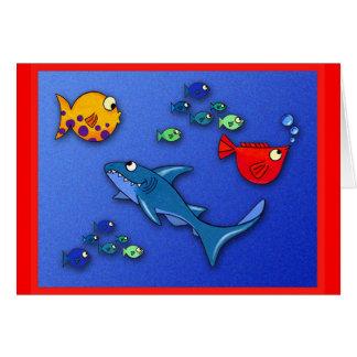 Wacky fish with Shark Greeting Card