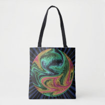 Wacky Neon Marble Graphic Tote Bag
