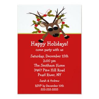 Wacky Reindeer Happy Holiday Party Invitation