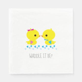 Waddle It Be Yellow Duck Kawaii Cartoon Disposable Serviettes