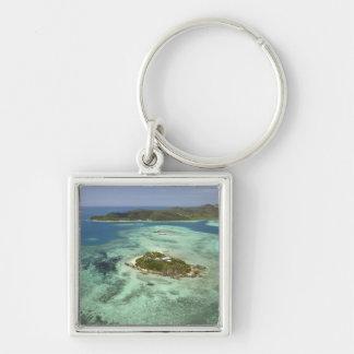 Wadigi Island, Mamanuca Islands, Fiji Silver-Colored Square Key Ring