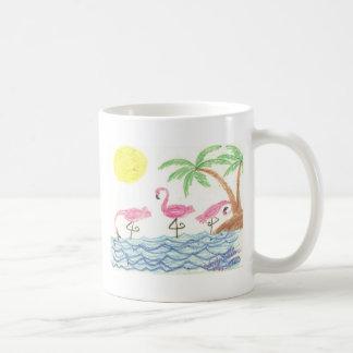 Wading Flamingos Basic White Mug