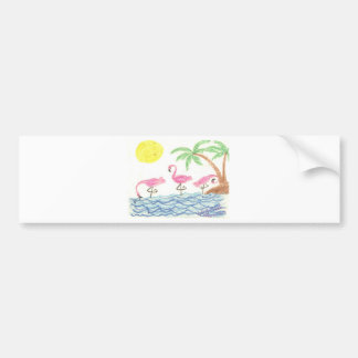 Wading Flamingos Bumper Sticker
