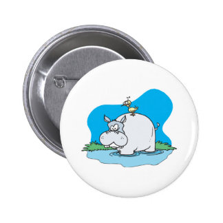 wading hippo and silly bird 6 cm round badge