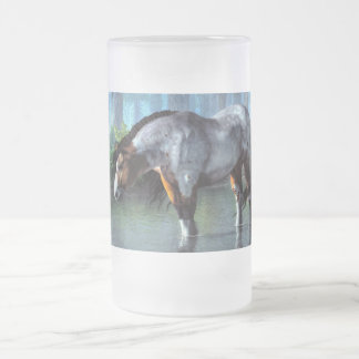 Wading Horse Frosted Glass Beer Mug