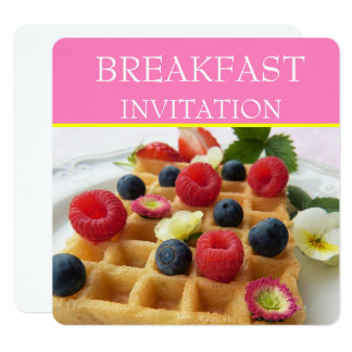 Waffle and Fruit Breakfast Invitations
