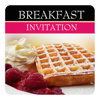 Waffle and Raspberry Fruit Breakfast Invitations