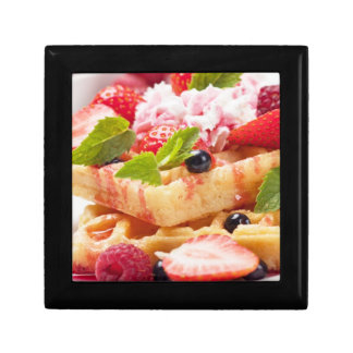 Waffle cake with fresh berry fruit gift box
