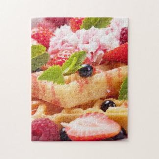 Waffle cake with fresh berry fruit jigsaw puzzle