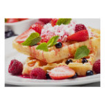 Waffle cake with fresh berry fruit poster