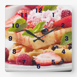Waffle cake with fresh berry fruit square wall clock