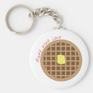 Waffle_Made With Love Basic Round Button Key Ring