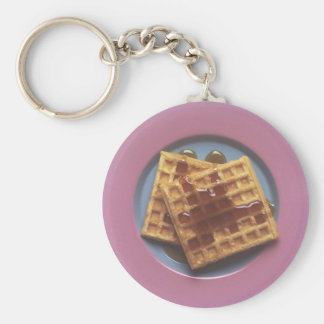 Waffles With Syrup Basic Round Button Key Ring