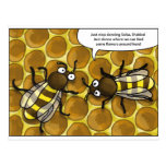waggle dance of the bees cartoon postkarten