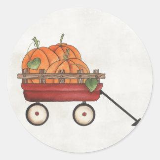 Wagon full of Pumpkins Classic Round Sticker
