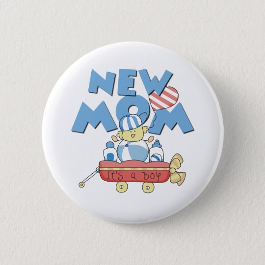 Wagon New Mum It's a Boy 6 Cm Round Badge