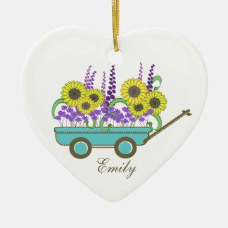 Wagon of Flowers Bridesmaid Ceramic Heart Decoration