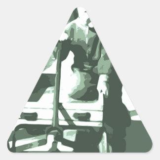 Wagon Ride Black and White Triangle Sticker