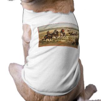 Wagon Train vintage painting Sleeveless Dog Shirt