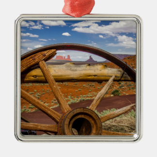 Wagon wheel close up, Arizona Silver-Colored Square Decoration
