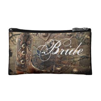 Wagon Wheel western cowboy wedding bride Cosmetic Bags