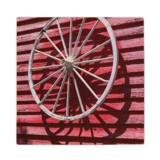Wagon Wheel Wood Coaster