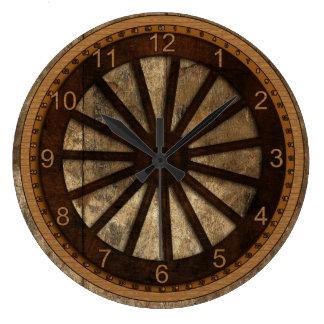 Wagon Wheel Wood-Look Large Clock