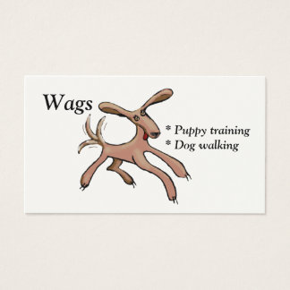 Wags puppy training and dog walking business card
