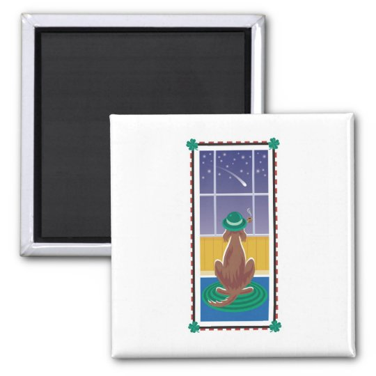 WagsToWishes_Irish Setter Wishing on a Star Square Magnet