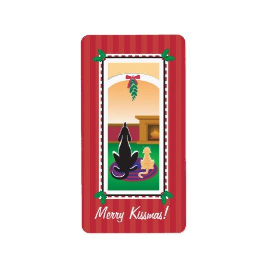 WagsToWishes_Merry Kissmas gift wrap Address Label