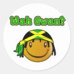 wah gwan round stickers
