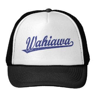 Wahiawa script logo in blue distressed cap