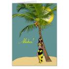 Wahine Pinup Coconut Tree Aloha Cards