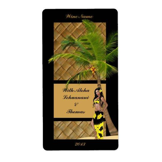 Wahine Pinup Coconut Tree Aloha Wine Craft Label
