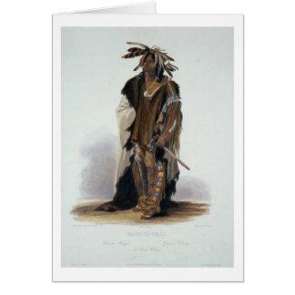 Wahk-Ta-Ge-Li, a Sioux Warrior, plate 8 from Volum Greeting Card