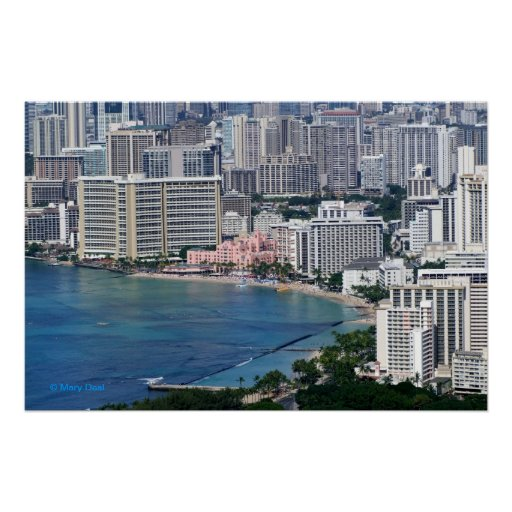 Waikiki and Honolulu Poster