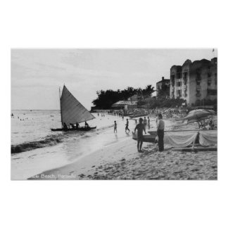 Waikiki Beach and Boats Honolulu Poster
