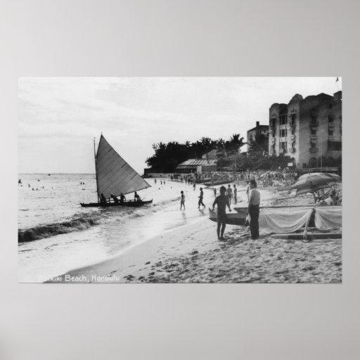 Waikiki Beach and Boats Honolulu Posters